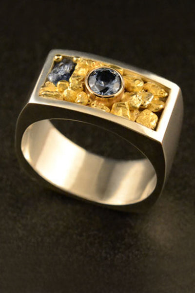 Montana Sapphire Ring with Natural Gold Nuggets