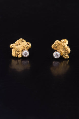 Natural Gold Nugget and Diamond Earrings