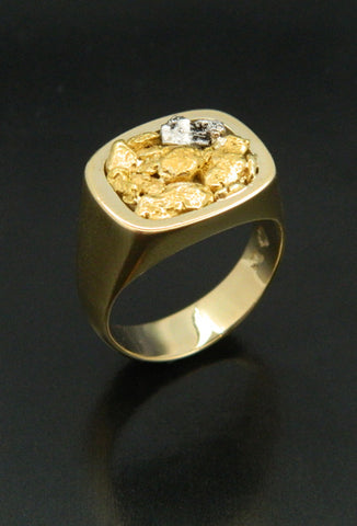 Signet Style Ring with Natural Gold and Platinum Crystal