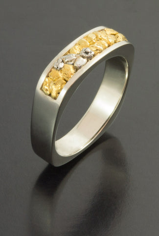 Natural Gold and Platinum Nugget Wedding Band