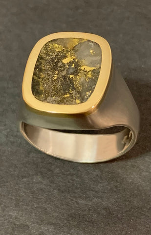 Gold Quartz Ring with 18kt Yellow Gold & Sterling Silver Ring