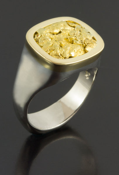 Natural Gold Nugget Signet Style Ring