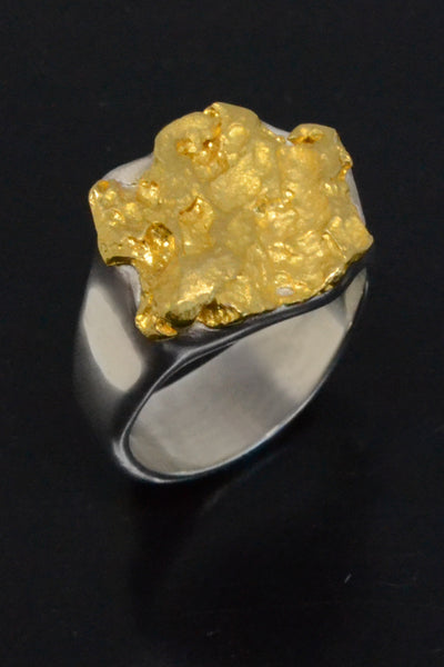 Natural Gold Nugget & Sterling Silver Ring
