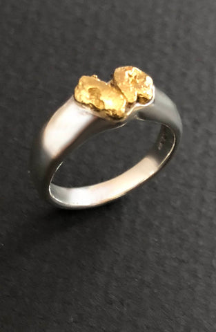 Australian Natural Heart Shaped Gold Nugget Ring