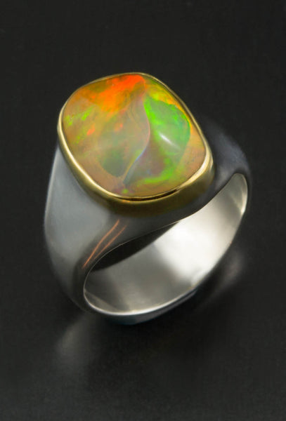 Ethiopian Opal Ring in Gold and Silver