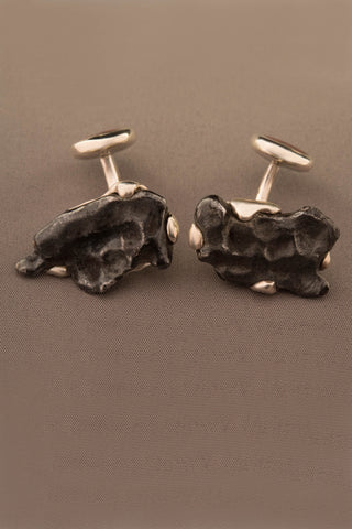 Sterling Silver Dinosaur Bone and Sikhote-Alin Meteorite Cufflinks