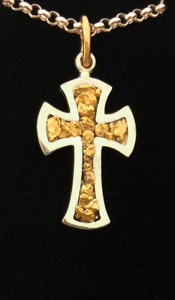 Gold Nugget Cross Pendant in Sterling Silver