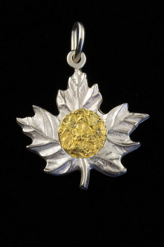 Sterling Silver Maple Leaf with Natural Gold Nugget Inlay