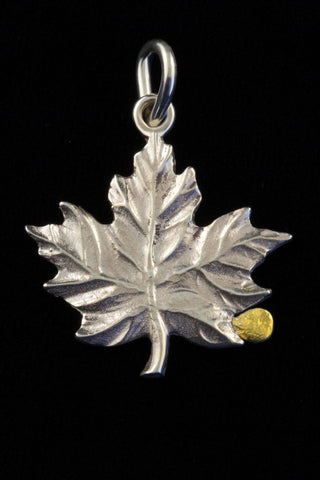 Sterling Silver Maple Leaf with Natural Gold Nugget
