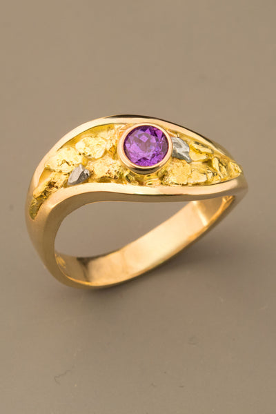 Purple Sapphire and Gold and Platinum Nugget Ring
