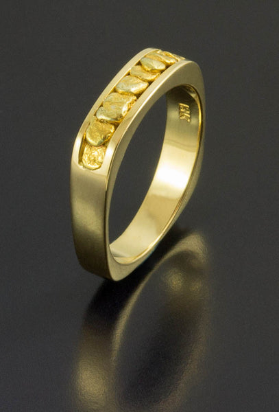 Ladies Natural Gold Nugget Wedding Band