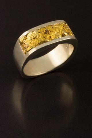 Natural Gold Nugget and Sterling Silver Band