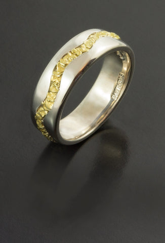 Ladies Sterling Silver Ring with Natural Gold Nuggets