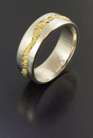 Gents Sterling Silver Ring with Natural Gold Nuggets