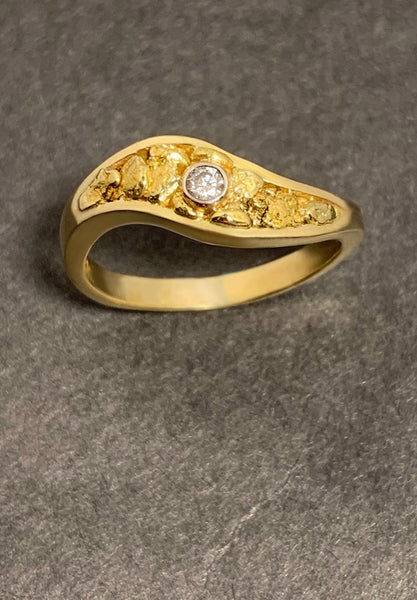 Natural Gold Nugget and Diamond Ring