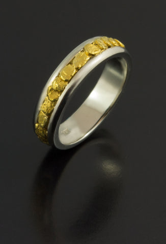 White Gold and Natural Gold Nugget Band