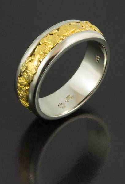 White Gold Wedding Band with Gold Nuggets