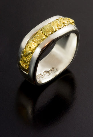 Natural Gold Nugget and Sterling Silver Wedding Band