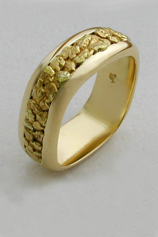 Large Natural Gold Nugget Band