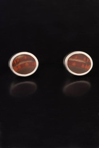 Agate and Sterling Silver Stud Earrings