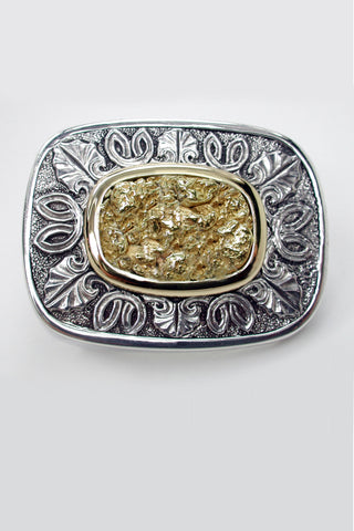 Celtic Inspired Natural Gold Nugget Inlay Buckle