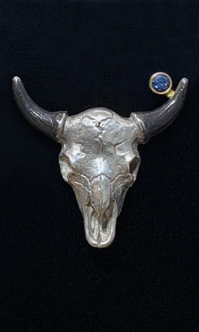 Sterling Silver Buffalo Skull Lapel Pin set with Montana Sapphire