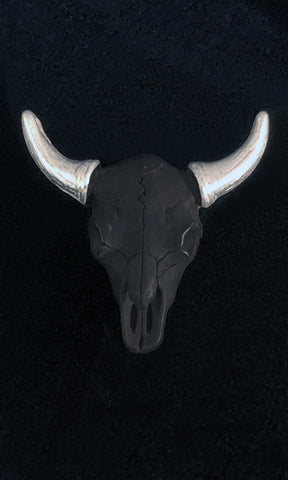 Sterling Silver Buffalo Skull Lapel Pin