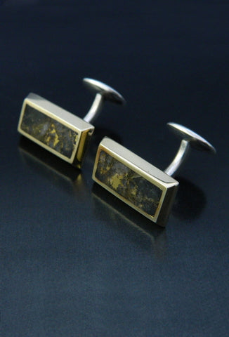 Gold in Quartz Bar Cufflinks