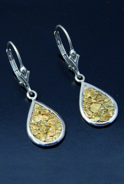 Natural Gold Nugget teardrop earrings