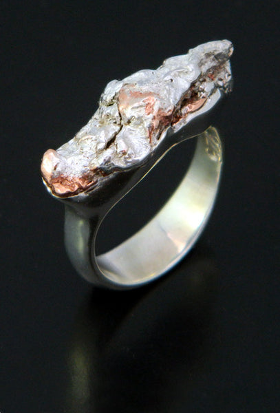 Copper and Silver Nugget Ring