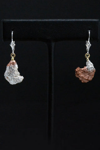 Copper/Silver Nugget Yin Yang Earrings in 18kt and Sterling Silver