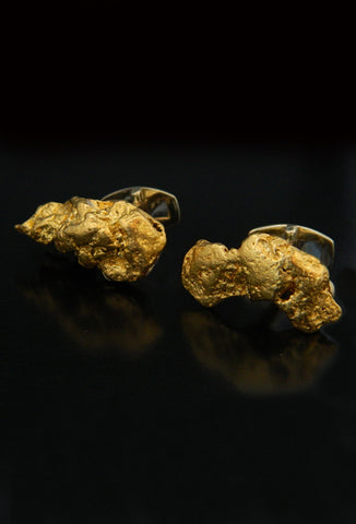Large Natural Gold Nugget Cufflinks