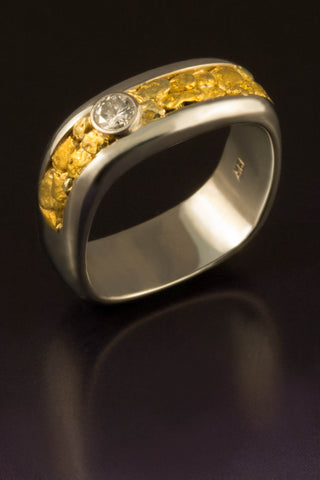19kt White Gold and Natural Gold Nugget Band