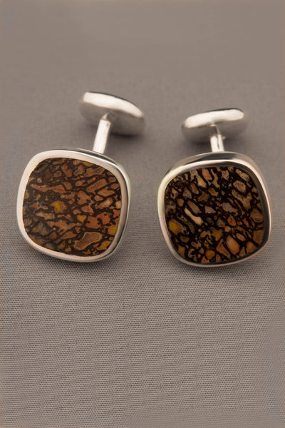 Double-sided Dinosaur Bone Cufflinks in Sterling Silver