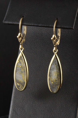 Gold in Quartz Drop Earrings in 18kt Gold