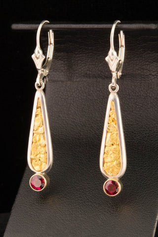 Garnet and Natural Gold Nugget Earrings