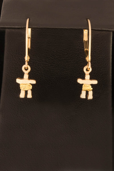 Natural Gold Nugget Inukshuk earrings