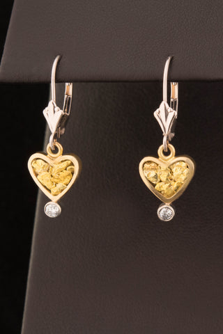 Natural Gold Nugget and Diamond Heart Earrings