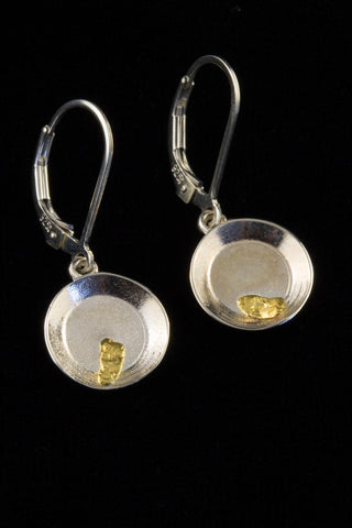 Natural Gold Nugget Gold Pan Earrings