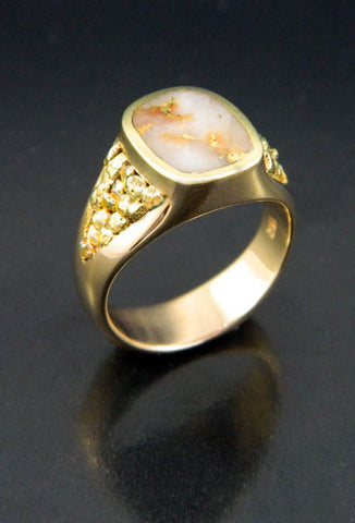 Gold in Quartz Ring with Natural Gold Nuggets