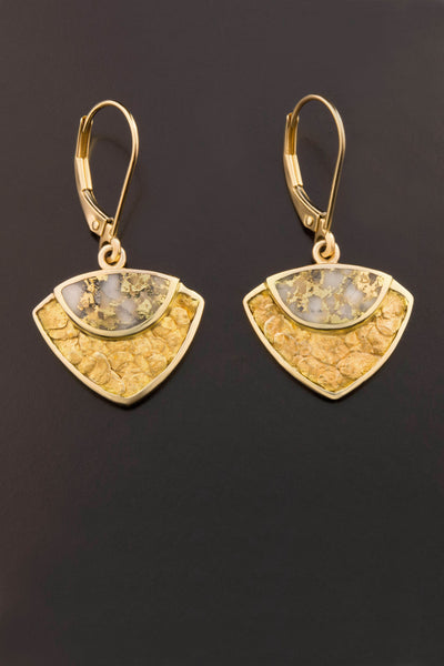 Gold in Quartz and Gold Nugget Drop Earrings