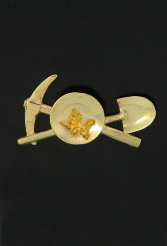 Gold Pan, Pick and Shovel with Crystalline Gold