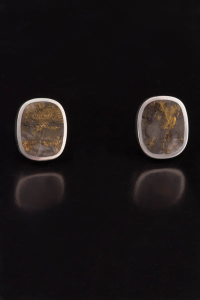 Red Lake Gold in Quartz Stud Earrings