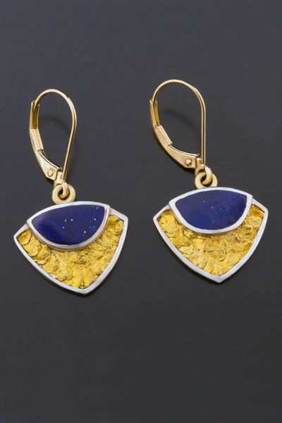 Lapis and Gold Nugget Drop Earrings