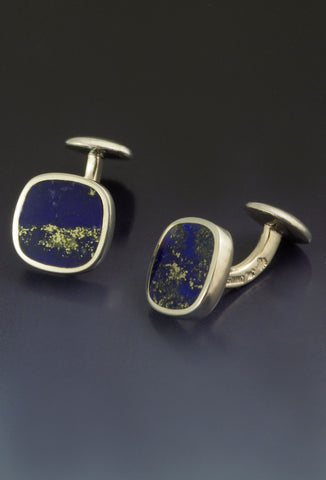 Lapis Cufflinks in Solid Sterling Silver