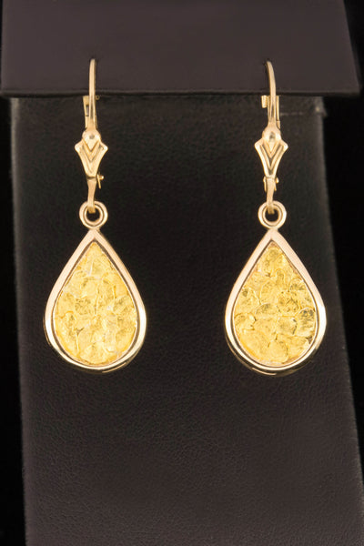 Natural Gold Nugget Large Teardrop Earrings