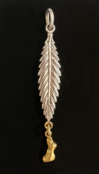 Sterling Silver Leaf Pendant with Natural Gold Nugget Drop