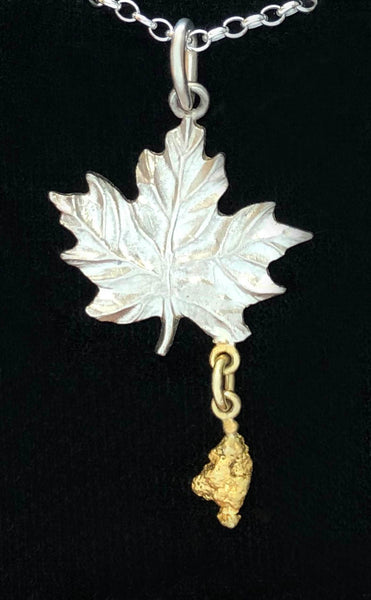 Sterling Silver Maple Leaf with Natural Gold Nugget Dangle