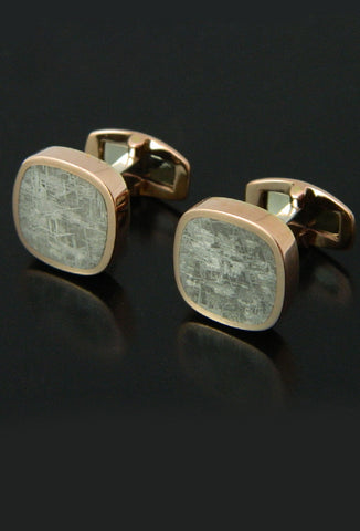 Taza Meteorite Cufflinks in Rose Gold