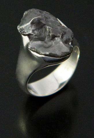 Sikhote-Alin Meteorite Ring in Sterling Silver